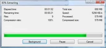 Status des Extrahierens der .001 Datei