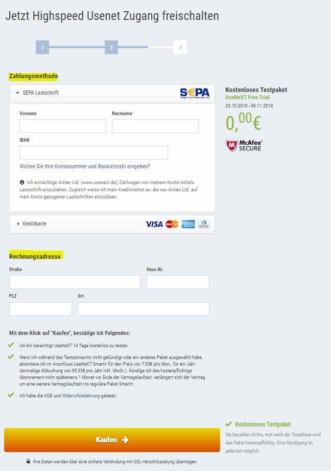 UseNeXT Anmeldung - Bezahldaten eingeben