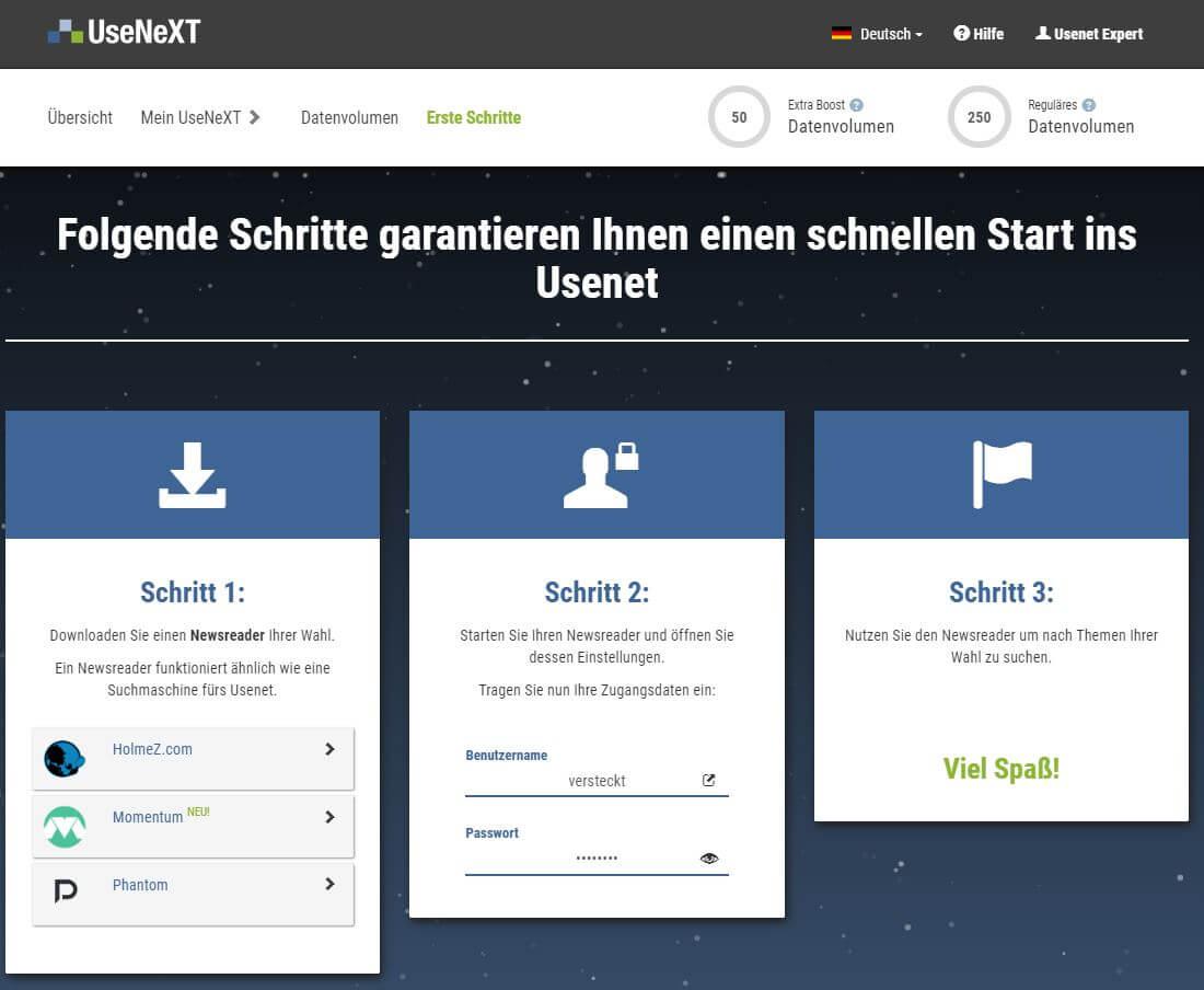 UseNeXT - Member area - Erste Schritte