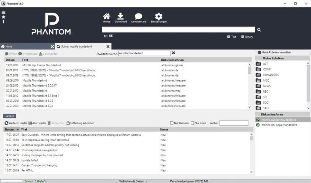 Screenshot Phantom Client
