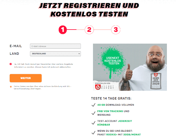UseNeXT Anmeldung - E-Mail-Adresse eingeben