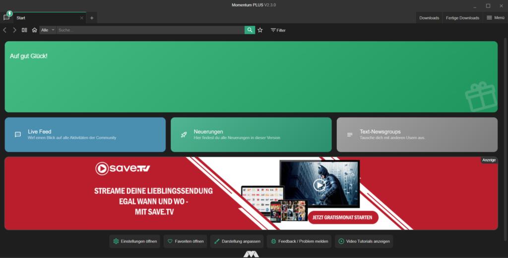 Screenshot Startseite Momentum